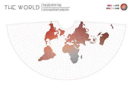 Abstract world map. Conic equidistant projection of the world. Red Grey colored polygons. Amazing vector illustration.