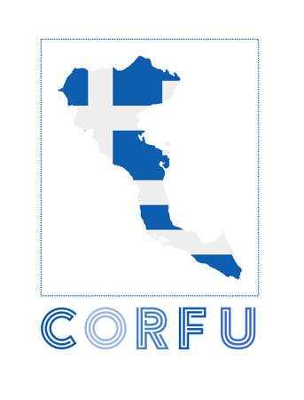 Corfu Logo. Map of Corfu with island name and flag. Stylish vector illustration.