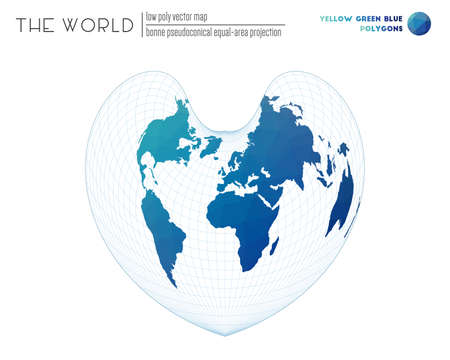 Abstract geometric world map. Bonne pseudoconical equal-area projection of the world. Yellow Green Blue colored polygons. Elegant vector illustration.