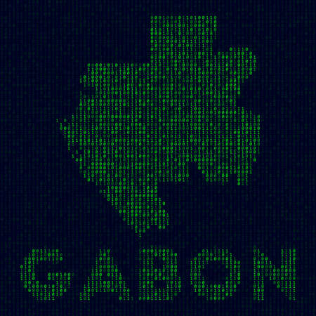Digital Gabon logo. Country symbol in hacker style. Binary code map of Gabon with country name. Radiant vector illustration.