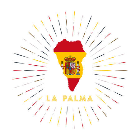 La Palma sunburst badge. The island sign with map of La Palma with Spanish flag. Colorful rays around the logo. Vector illustration.