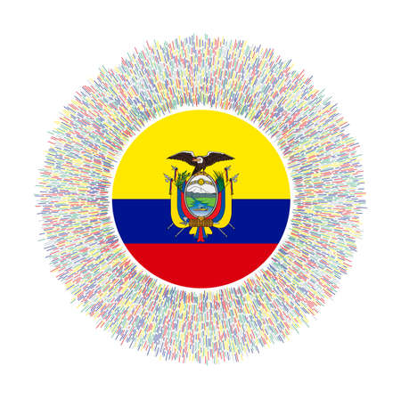Flag of Ecuador with colorful rays. Radiant country sign. Shiny sunburst with Ecuador flag. Superb vector illustration.