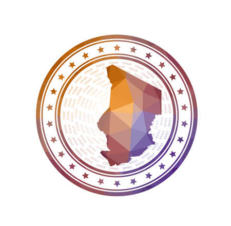 Flat low poly stamp of Chad. Polygonal Chad badge. Trendy vector logo of the country. Logo