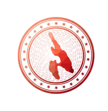 Flat low poly stamp of Ko Phi Phi. Polygonal Ko Phi Phi badge. Trendy vector logo of the island.
