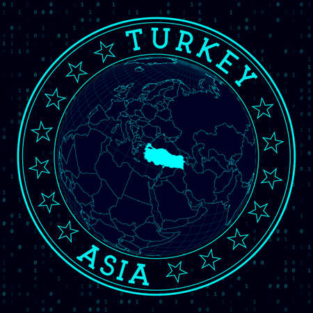 Turkey round sign. Futuristic satelite view of the world centered to Turkey. Country badge with map, round text and binary background. Awesome vector illustration.