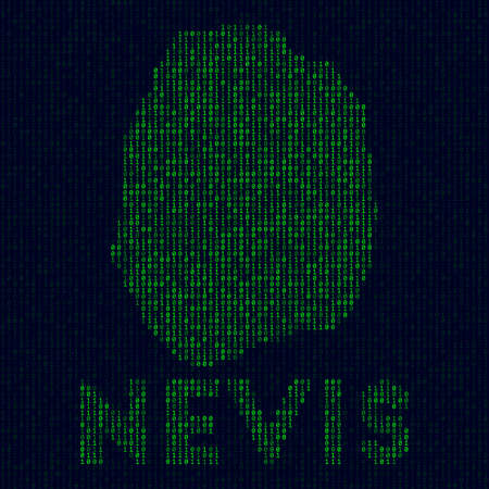Digital Nevis logo. Island symbol in hacker style. Binary code map of Nevis with island name. Astonishing vector illustration. Иллюстрация