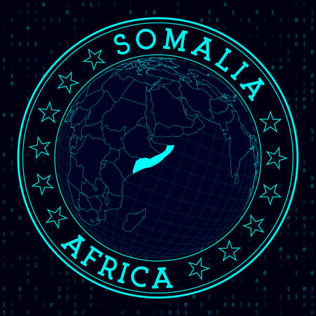 Somalia round sign. Futuristic satelite view of the world centered to Somalia. Country badge with map, round text and binary background. Cool vector illustration.