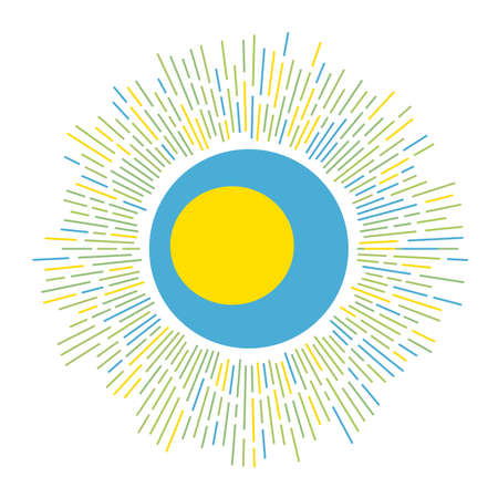 Palau sign. Country flag with colorful rays. Radiant sunburst with Palau flag. Vector illustration.