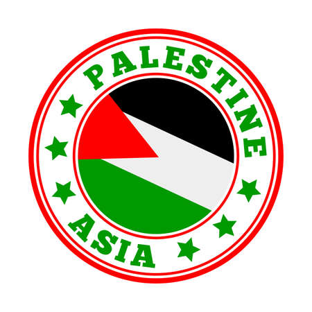 Palestine sign. Round country logo with flag of Palestine. Vector illustration. Фото со стока - 138271579