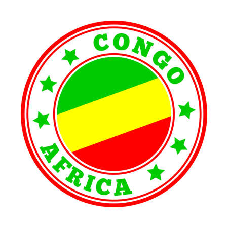 Congo sign. Round country logo with flag of Congo. Vector illustration. Stock Illustratie