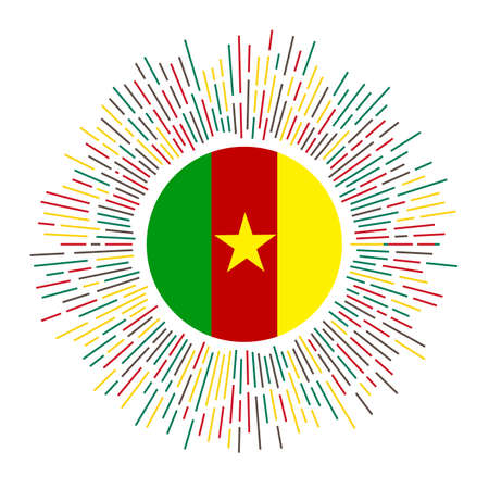 Cameroon sign. Country flag with colorful rays. Radiant sunburst with Cameroon flag. Vector illustration.