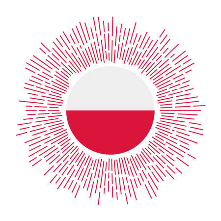 Poland sign. Country flag with colorful rays. Radiant sunburst with Poland flag. Vector illustration.