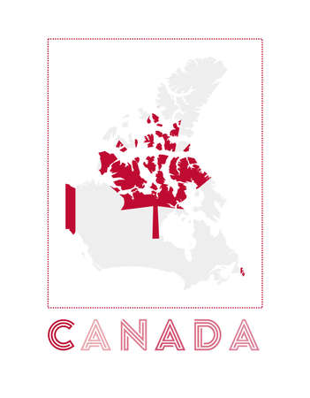 Canada Logo. Map of Canada with country name and flag. Authentic vector illustration.