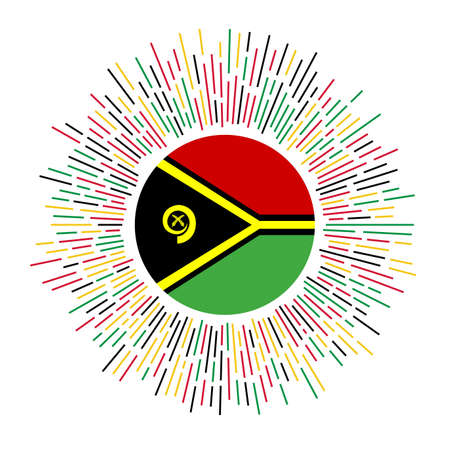 Vanuatu sign. Country flag with colorful rays. Radiant sunburst with Vanuatu flag. Vector illustration.
