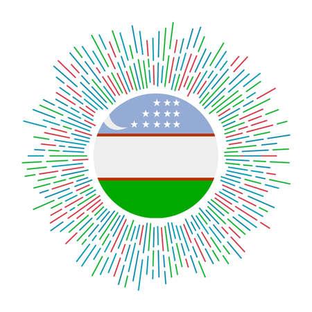 Uzbekistan sign. Country flag with colorful rays. Radiant sunburst with Uzbekistan flag. Vector illustration.