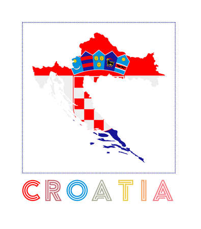 Croatia Logo. Map of Croatia with country name and flag. Artistic vector illustration.