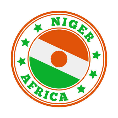 Niger sign. Round country logo with flag of Niger. Vector illustration. Stock Illustratie