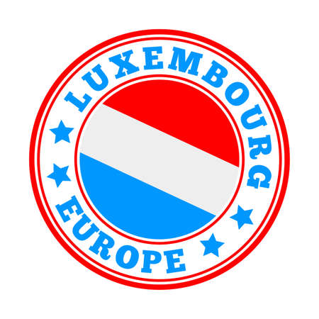 Luxembourg sign. Round country logo with flag of Luxembourg. Vector illustration.