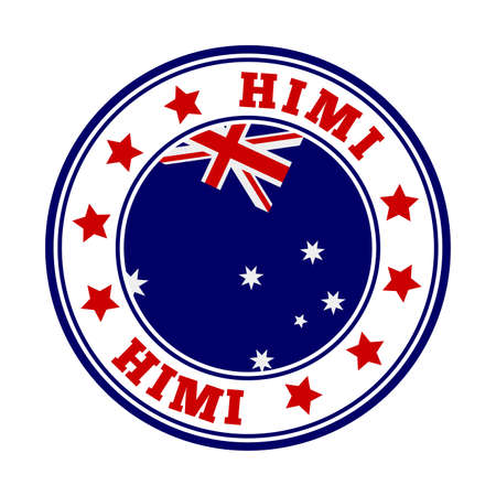 HIMI sign. Round country logo with flag of HIMI. Vector illustration.