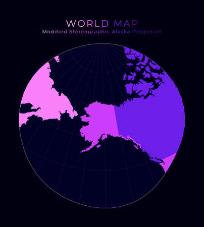 World Map. Modified stereographic projection for Alaska. Digital world illustration. Bright pink neon colors on dark background. Amazing vector illustration. Foto de archivo - 138047675