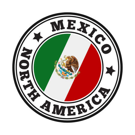 Mexico sign. Round country logo with flag of Mexico. Vector illustration.