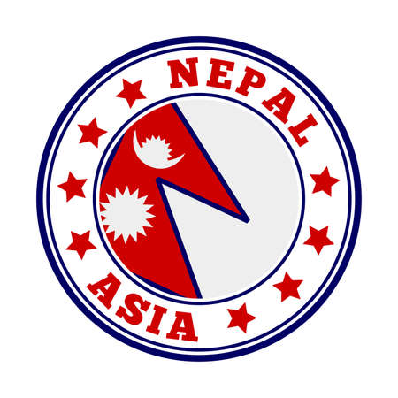Nepal sign. Round country logo with flag of Nepal. Vector illustration.