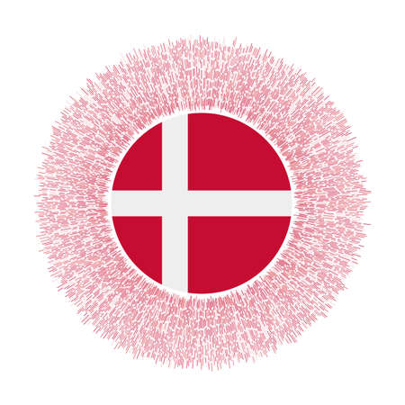 Flag of Denmark with colorful rays. Radiant country sign. Shiny sunburst with Denmark flag. Powerful vector illustration. Ilustrace
