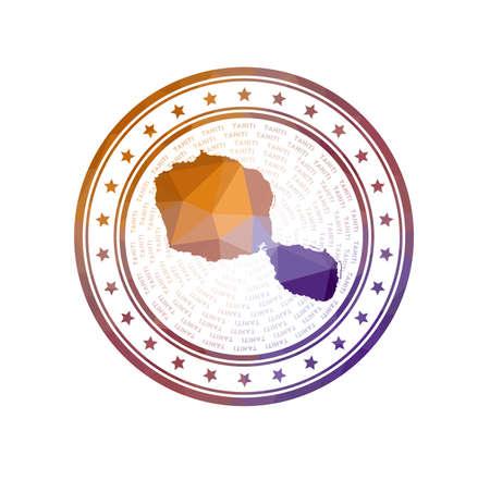 Flat low poly stamp of Tahiti. Polygonal Tahiti badge. Trendy vector logo of the island. Illustration