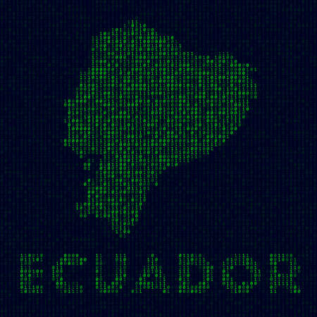 Digital Ecuador logo. Country symbol in hacker style. Binary code map of Ecuador with country name. Beautiful vector illustration.