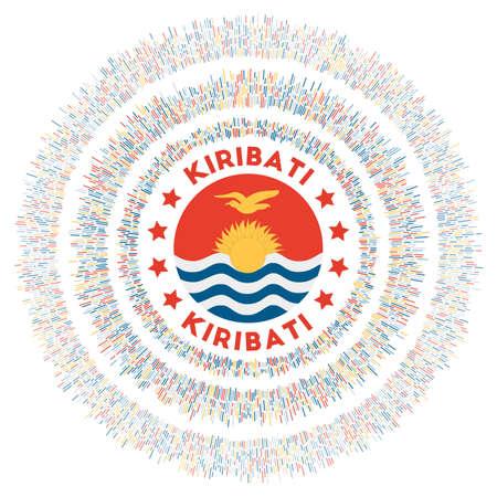 Kiribati symbol. Radiant country flag with colorful rays. Shiny sunburst with Kiribati flag. Attractive vector illustration. Vektoros illusztráció