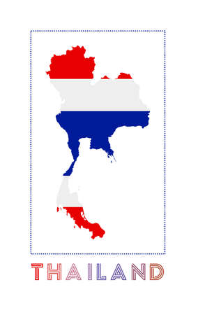 Thailand Logo. Map of Thailand with country name and flag. Stylish vector illustration.