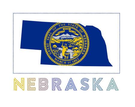 Nebraska Logo. Map of Nebraska with us state name and flag. Superb vector illustration.