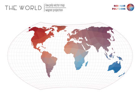 Triangular mesh of the world. Wagner projection of the world. Red Blue colored polygons. Modern vector illustration. Ilustrace