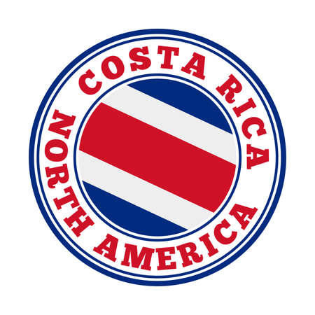 Costa Rica sign. Round country logo with flag of Costa Rica. Vector illustration. 矢量图像