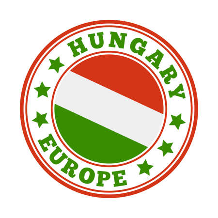 Hungary sign. Round country logo with flag of Hungary. Vector illustration.