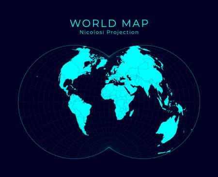 Map of The World. Nicolosi globular projection. Futuristic Infographic world illustration. Bright cyan colors on dark background. Creative vector illustration.