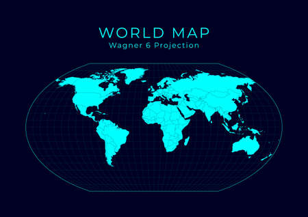 Map of The World. Wagner VI projection. Futuristic Infographic world illustration. Bright cyan colors on dark background. Creative vector illustration.