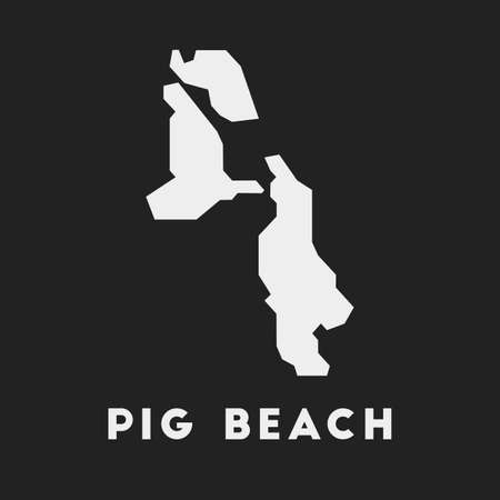 Pig Beach icon. Island map on dark background. Stylish Pig Beach map with island name. Vector illustration.