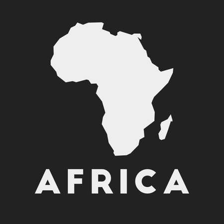 Africa icon. Continent map on dark background. Stylish Africa map with continent name. Vector illustration.
