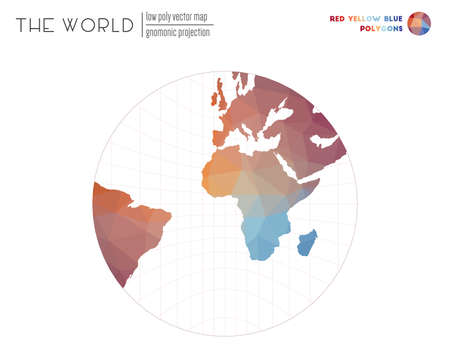 Polygonal world map. Gnomonic projection of the world. Red Yellow Blue colored polygons. Trending vector illustration.