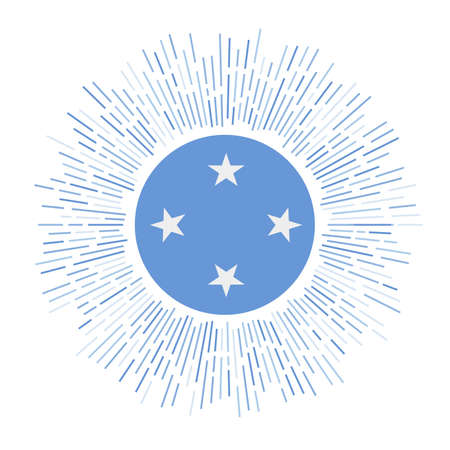 Micronesia sign. Country flag with colorful rays. Radiant sunburst with Micronesia flag. Vector illustration. Фото со стока - 138370781
