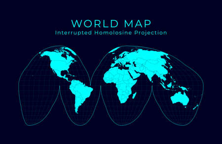 Map of The World. Goodes interrupted homolosine projection. Futuristic Infographic world illustration. Bright cyan colors on dark background. Charming vector illustration. Ilustrace
