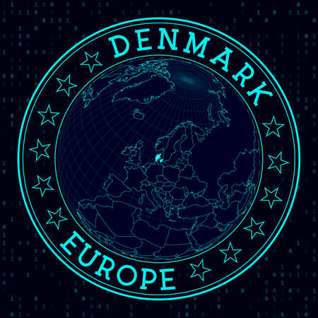Denmark round sign. Futuristic satelite view of the world centered to Denmark. Country badge with map, round text and binary background. Trendy vector illustration. Ilustrace