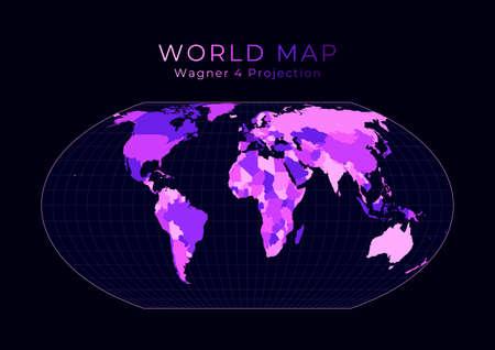 World Map. Wagner IV projection. Digital world illustration. Bright pink neon colors on dark background. Cool vector illustration.