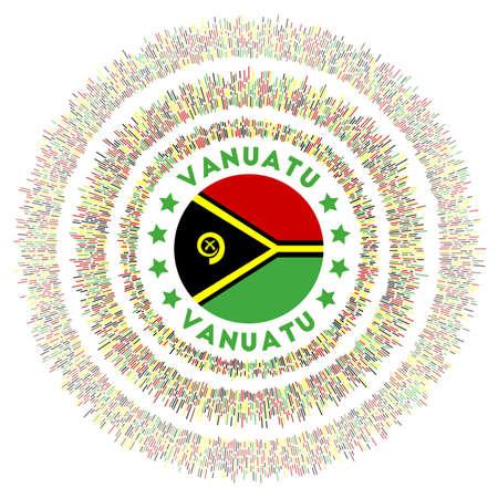 Vanuatu symbol. Radiant country flag with colorful rays. Shiny sunburst with Vanuatu flag. Captivating vector illustration.
