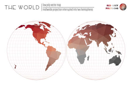 Triangular mesh of the world. Mollweide projection interrupted into two hemispheres of the world. Red Grey colored polygons. Beautiful vector illustration.