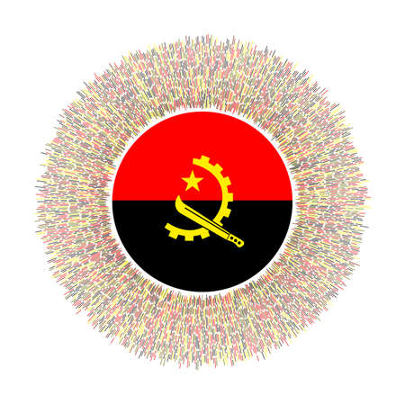 Flag of Angola with colorful rays. Radiant country sign. Shiny sunburst with Angola flag. Artistic vector illustration.