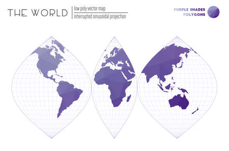 Low poly design of the world. Interrupted sinusoidal projection of the world. Purple Shades colored polygons. Neat vector illustration.