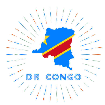 DR Congo sunburst badge. The country sign with map of DR Congo with Congolese flag. Colorful rays around the logo. Vector illustration. Logo