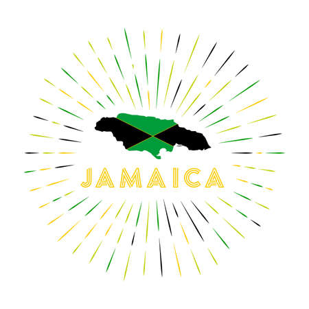Jamaica sunburst badge. The country sign with map of Jamaica with Jamaican flag. Colorful rays around the logo. Vector illustration.
